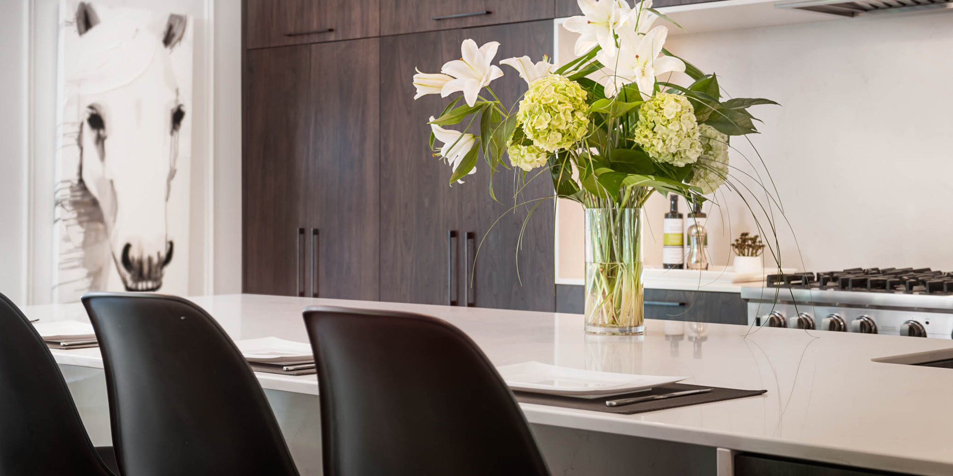 Thin counter in the kitchen of Brigitte Lafleur and Mario Provencher