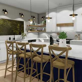 kitchen example polyester mdf white island lunch counter blue shelves invisible support wood 3d virtual universe